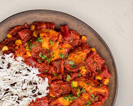P20 Paprika Pfanne mit Hähnchen und Reis