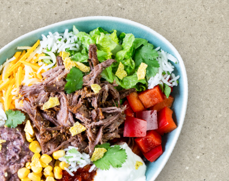 Burrito Bowl Pulled Beef Bash